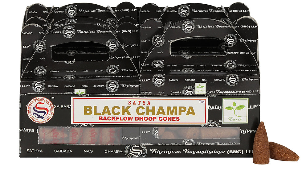 Box of 6 Black Champa Backflow Dhoop Cones by Satya