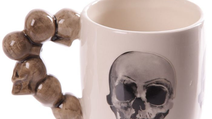 Ceramic Stack of Skulls Shaped Handle Mug with Decal