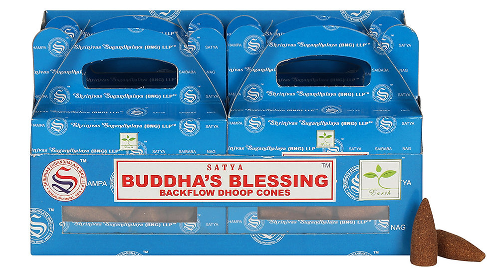 Box of 6 Buddha's Blessing Backflow Dhoop Cones by Satya