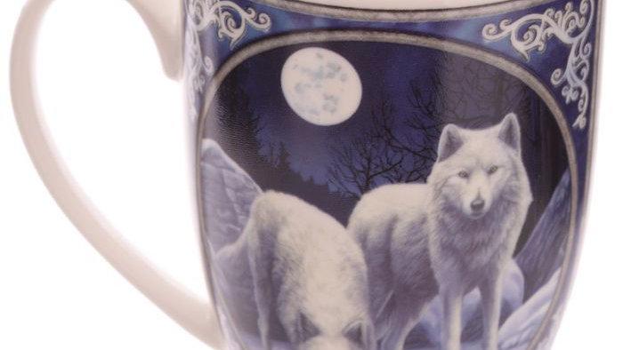 Lisa Parker Winter Warrior Wolf Porcelain Mug