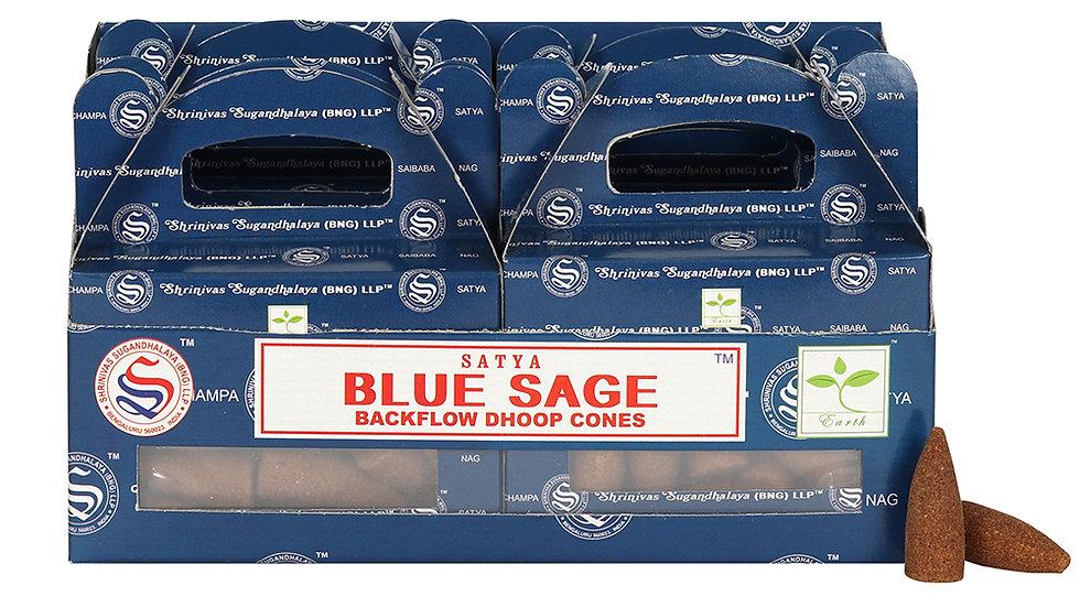 Satya Blue Sage Backflow Dhoop Cones box of 6