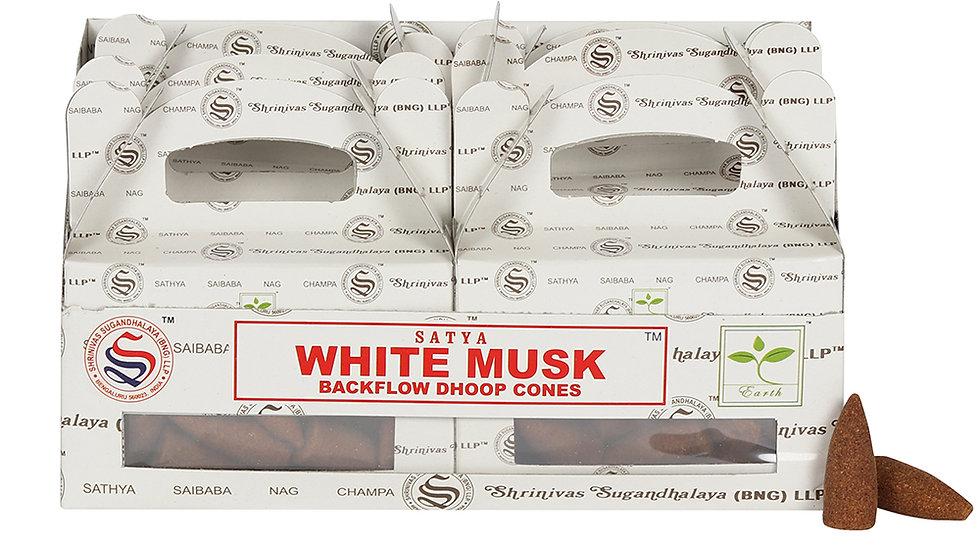 Box of 6 White Musk Backflow Dhoop Cones by Satya