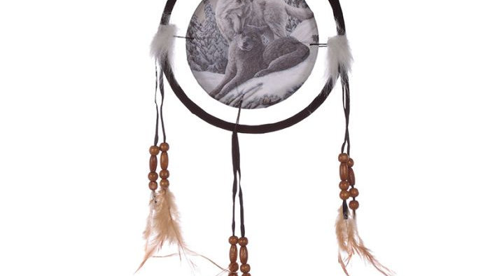 Lisa Parker Snow Kisses Wolf Dreamcatcher 16cm