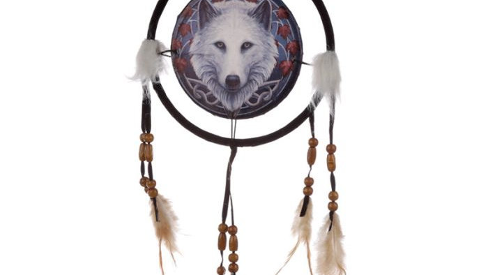 Lisa Parker Guardian of the Fall Wolf Dreamcatcher 16cm