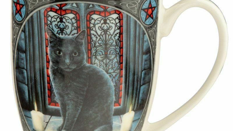 LISA PARKER SACRED CIRCLE BLACK CAT BONE CHINA MUG
