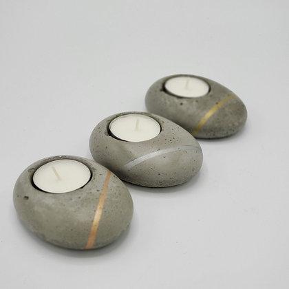 3 Vela tipo piedra hormigón colección Brann