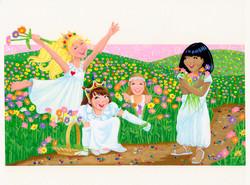 Girls in a Field of Flowers