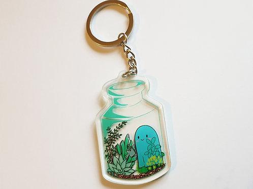 Ghost in a bottle key ring