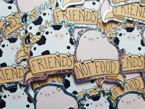 Friends not food holographic vinyl sticker