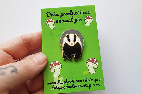 Happy badger enamel pin