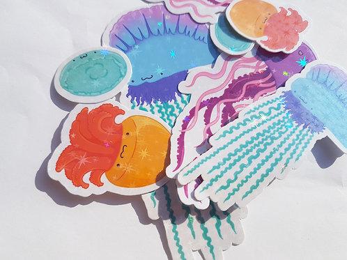 Holographic jellyfish sticker set
