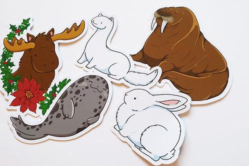 Winter animals sticker set