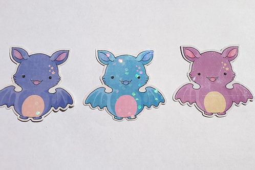 Holographic pastel bat stickers