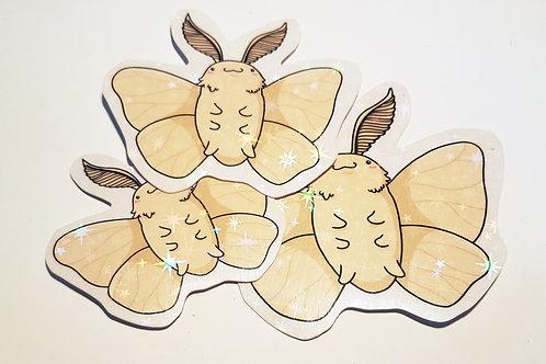 Holographic poodle moth sticker set