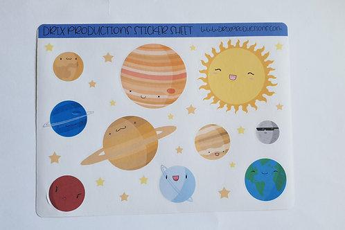 Cute planet sticker sheet