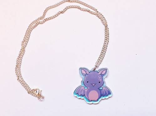 Acrylic iridescent bat necklace or earrings