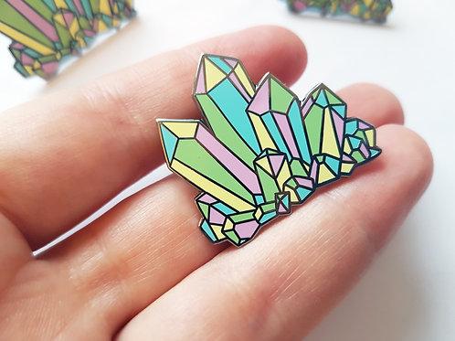 Pastel crystal enamel pin