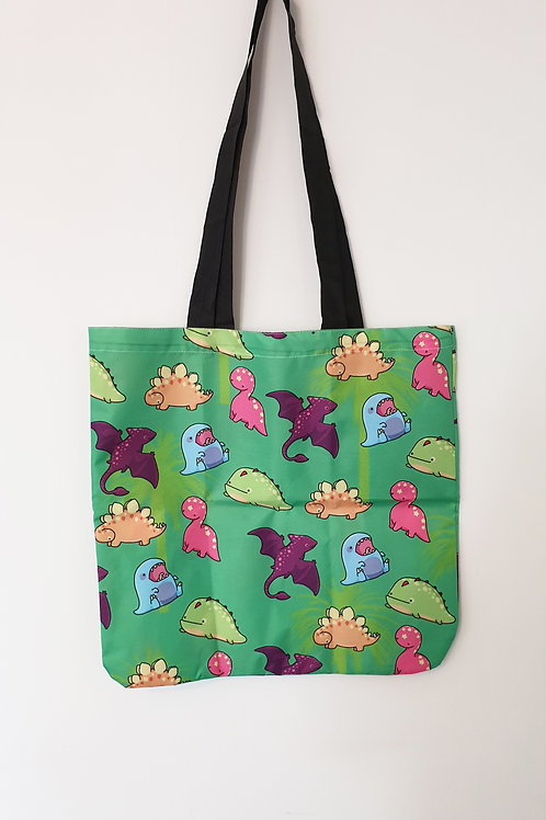 Dinosaur double sided tote bag