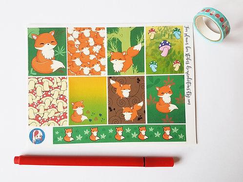 Fox planner sticker sheet (full box stickers)