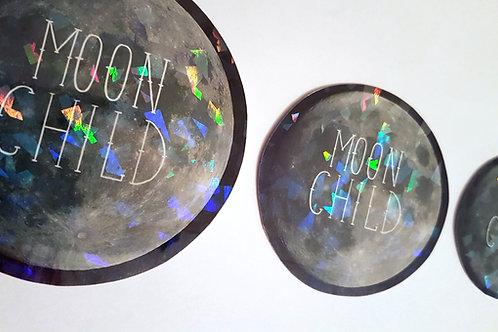 Holographic moon child sticker set