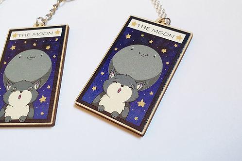 The moon kawaii tarot card necklace or key ring