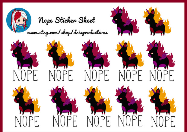 Nope sticker sheet