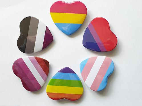 Heart shaped pride pin badge