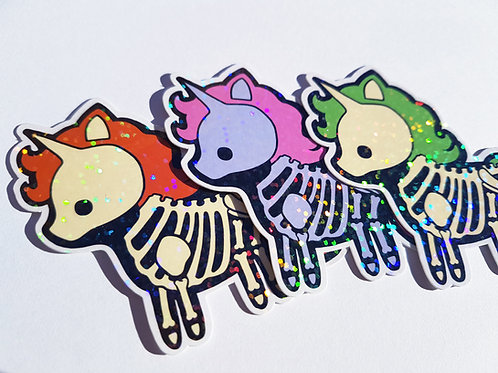 Skeleton unicorn holographic stickers