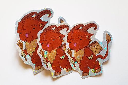 Kawaii Krampus holographic stickers