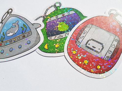 Virtual pet holographic sticker set