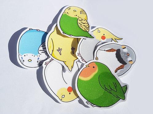 Cute glitter bird sticker set