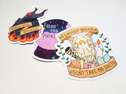 Feminist witch stickers