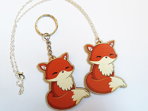 Cute fox necklace or keyring