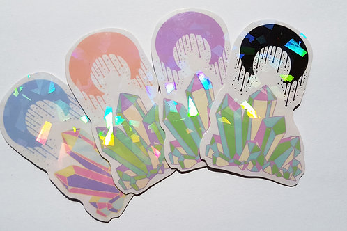 Holographic crystal moon stickers