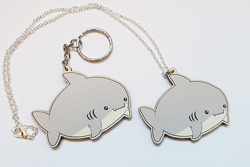 Kawaii shark necklace or key ring