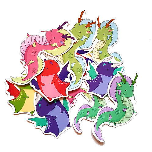 Kawaii dragon sticker set