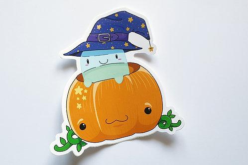 Pumpkin ghost vinyl sticker