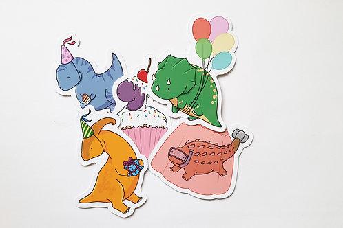 Dinosaur party sticker set