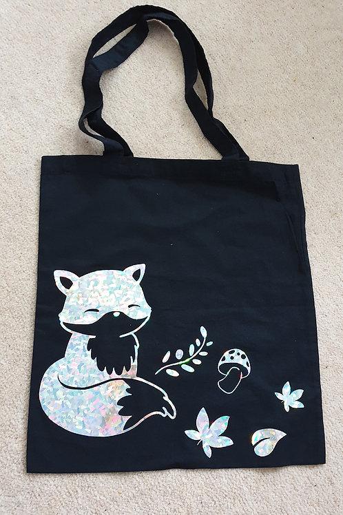 Holographic fox tote bag