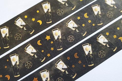Occult hands gold foil washi tape