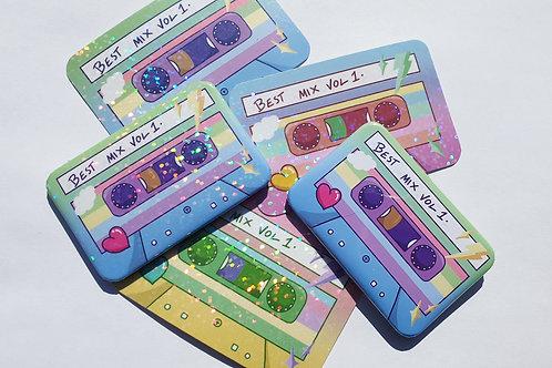 Pastel tape sticker and badge set