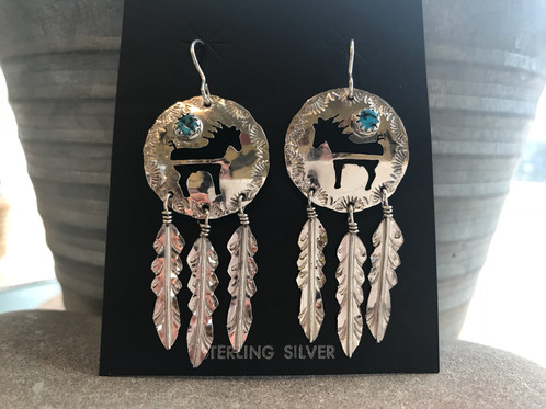 These Beautiful Navajo Sterling Silver Horse Earrings With Turquoise Are Signed And Stamped By The Artist They Have A Piece Of Sleeping Beauty On