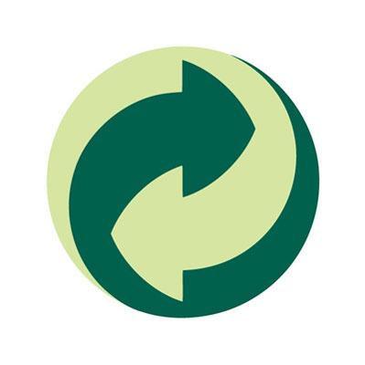 Punto verde Ecoembes. Dos flechas encerradas en un círculo. Determina los envases que pueden ser reciclados.