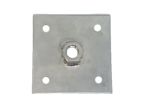 "Stainless Steel Square Flush Base with 1/2"" thread"