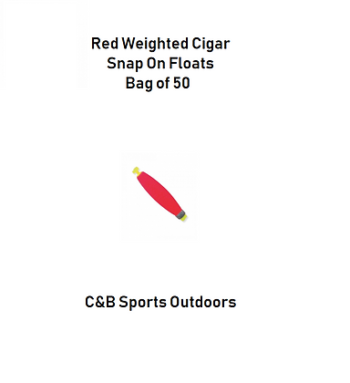 Red Weighted Cigar Snap On Floats (bag of 50)