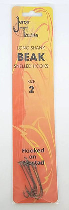 Jeros Tackle Long Shank Beak Snelled Hooks Size 2