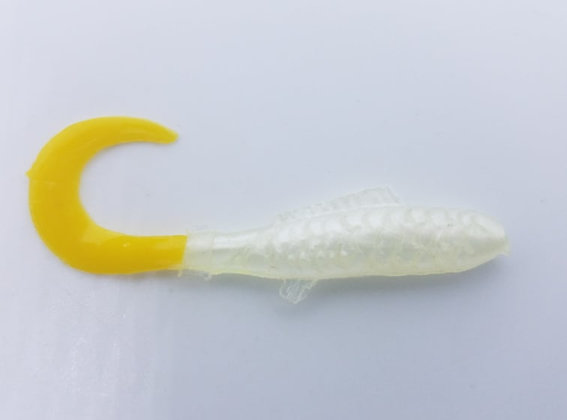 """AWD Baits - 2"""" Crappie Delights - CD35 White/Yellow Tail (Bag of 1,000)"""