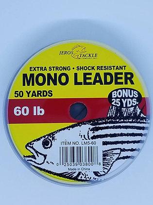 Jeros Tackle Mono Leader - 50yds 60lb test (Bonus 25yds)