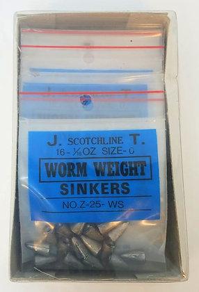 Box of Scotchline 1/16oz Size 0 Worm Weight Sinkers (Z-25-WS)
