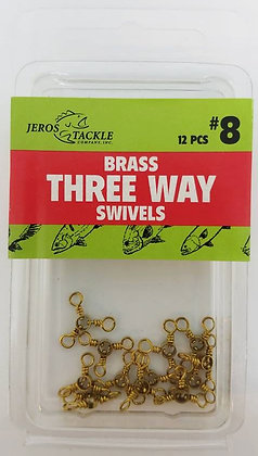 Jeros Tackle #8 Brass Three Way Swivels 12pcs per pack